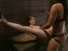 Sensi Pearl Tied with Legs Opened Wide for Isis Love to Strapon Fuck Her