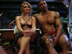 Femdom and Foot Fetish Interracial Action with Blonde Lea Lexis