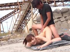 Tied up Yukiko Suo gets fingered and fucked outdoors