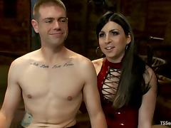 Aly Sinclair gives a blowjob to John Jammen and pounds his ass
