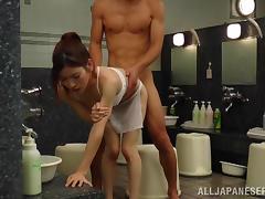 Slim Reiko Kobayaka gets fucked nice and deep in a bathroom