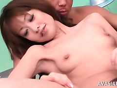 Asian babe in threesome