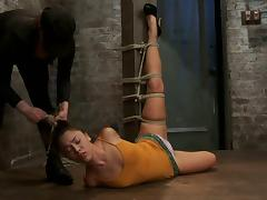 Incredible hogite and twitching session for a slender slave Kristina porn video