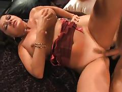 Busty brunette MILF sucks and fucks