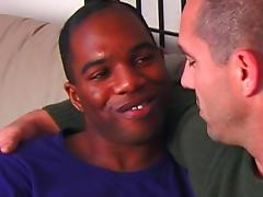 Black gay mounts dick on the sofa