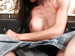 Shemale Ja Rockin Red Bikini Bareback