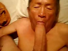 Old Asian Man Eating a Big Cock