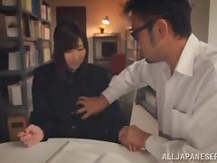 Japanese bitch Mizuki enjoys sucking a cock in the library