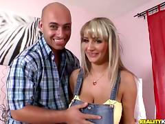 Blonde hottie with huge boobs rides a dick and gets face fucked