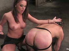 Penny Flame with a Big Strapon Dildo To Bang a Dude's Asshole in Femdom