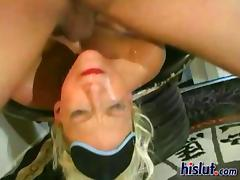 Nikki sucks for cum and it flies out of the dick