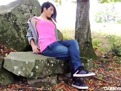 Teen Natasa masturbate outdoors