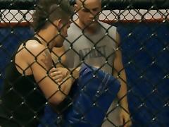 Busty blonde trades oral with fighter