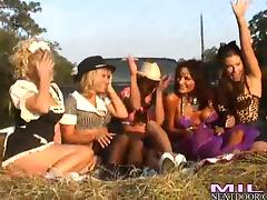 Here is a pussy licking party with four sassy milfs