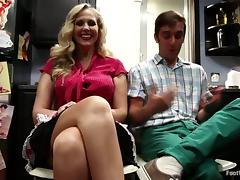 MILF Julia Ann Gets Fucked in the Kitchen Before Footjob