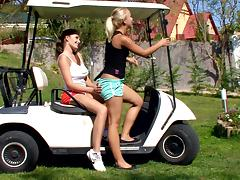 Busty Brunette and Sexy Blonde Having Lesbian Sex on a Golf Cart