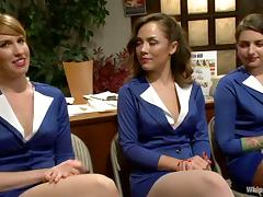 Sexy chicks in uniform gets bonded and toyed deep porn video