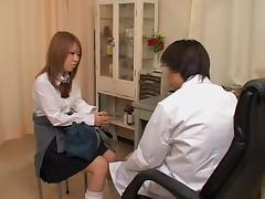 Kira's tight pussy examined in the kinky gynecologist room
