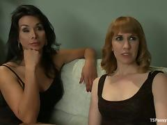 Horny shemale ties up Mallory and fucks her twat