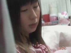 Asian teen in pyjamas masturbates in cute voyeur porn video