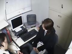 Smoking hot Jap secretary sucks in voyeur blowjob video