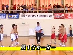 Hot Asians are playing basketball game topless public flash