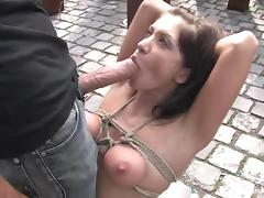 Gorgeous beauty gets hogtied outdoors and fucked hard