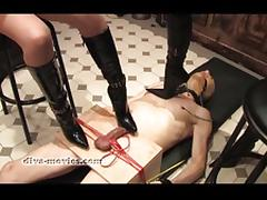 Tied-and-trampled-by-two-dark-mistresses