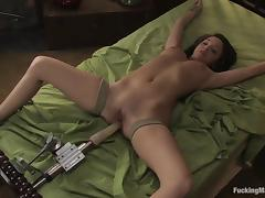 Charlie Laine gets fucked to orgasm by a sex machine indoors porn video
