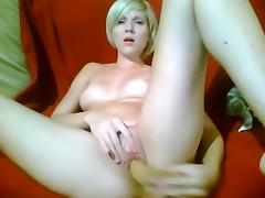 Blonde masturbating - And ORGASMS - on couch porn video