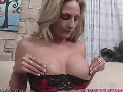 Blonde mom Sindy Lange gives a blowjob and titjob combo