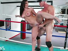 johnny takes on milf in the boxing ring