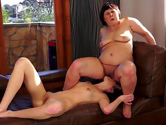 Sensual old and young lesbian couple
