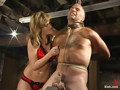 Kinky Tyla Wynn ties a guy up and gets toyed by him