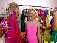 Three blonde babes have lesbian sex after shopping