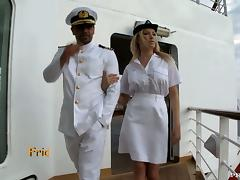 Busty blond stewardess fucks her captain porn video