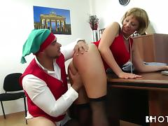 bossy milf fucks her employee after christmas party