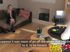 FakeAgentUK: Stocking clad posh MILF willing to try it all on the casting couch