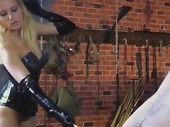 Mistress is beating male slave porn video