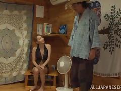 Slim chick Claire Hasumi loves to be poked in her hairy twat