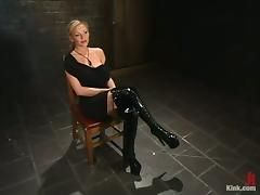 Hot Sex in Kinky Bondage Action with Gag Ball and Mask for Blonde Stunner