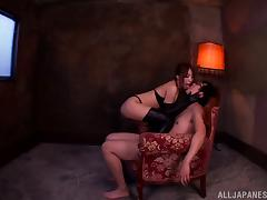 Super horny Japanese mistress is fucking her slave