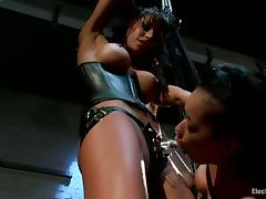 Hanging Brunette Skin Diamond Strapon Fucked by Gia Dimarco in BDSM Vid porn video