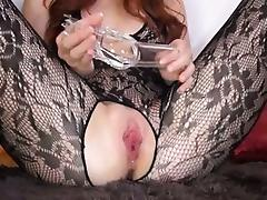 Gyno toy in her huge redhead cunt porn video