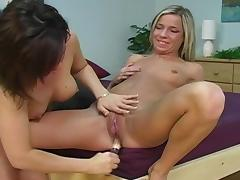 Blonde girl sucks her friend's nipples and bangs her muff