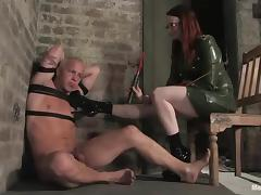 Two gorgeous mistresses are humiliating this fag porn video