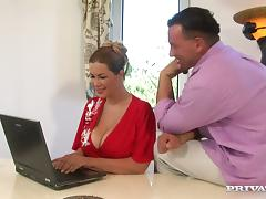 Terry lets a man play with her tits before he fucks her ass