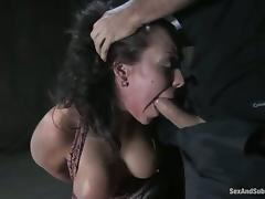 babe loves having a huge cock in her twat with a gag in her mouth porn video