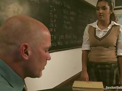 Teacher is torturing and fucking his hottest student