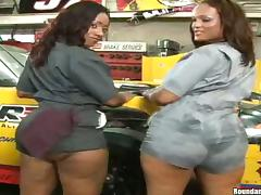 Two bubble but ebony babes are riding a hard white cock